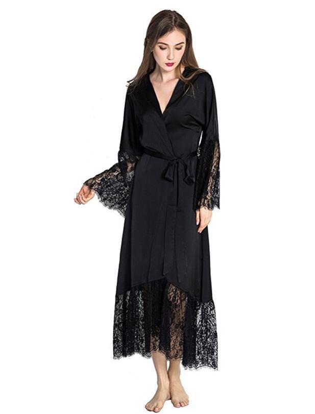 6880b21fc57d Summer Lace Patchwork Satin Kimono Robe Sexy Sleepwear Lingerie Chemises  Women Silk Long Nightgown Wedding bridesmaid Robes. Yesterday s price  US   20.88 ...