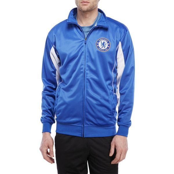 Rhinox Blue Chelsea Football Club Track Jacket (£16) ❤ liked on Polyvore featuring men's fashion, men's clothing, men's activewear, men's activewear jackets, blue, mens track tops, mens track jackets and mens activewear