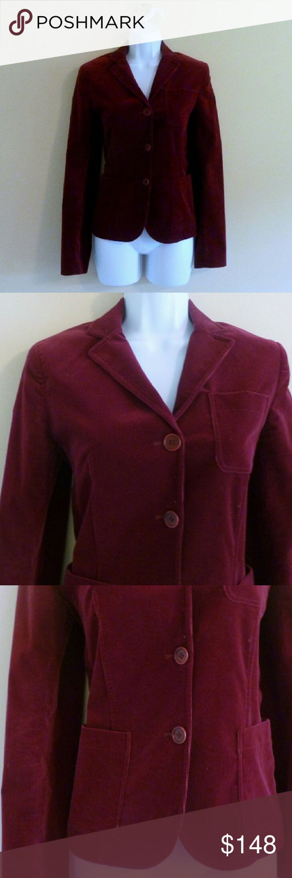 "(315) Theory Corduroy Burgundy Blazer - Size S Warm and well-tailored blazer from fine label Theory. This jacket fits so cute, and is so touchable and smart. Pockets and three-button closure. Vintage feel. Beautiful with a boho top and long statement necklace, or go preppy with a layered cami and button-down blouse. In excellent condition.  Bust - 34"" Waist - 32"" Length - 23"" Label - Theory Size - 4, fits like a small (PLEASE CHECK MEASUREMENTS) Materials - Cotton, lycra  Color may vary…"