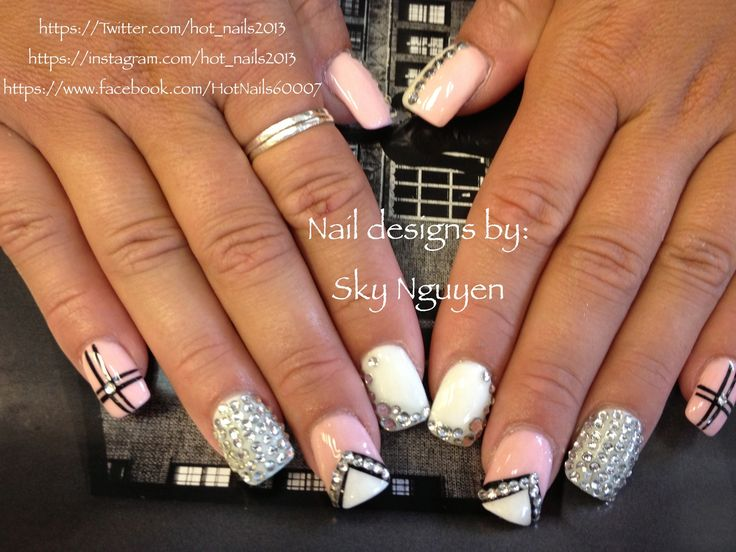 Nail styles with rhinestones beautify themselves with sweet nails rhinestones nail designs nails pinterest rhinestone nail designs prinsesfo Image collections