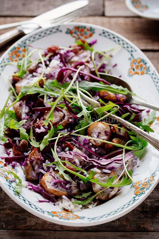 Salade met rode kool, aardperen en wilde rijst | Salad with jerusalem artichokes, cabage and rice