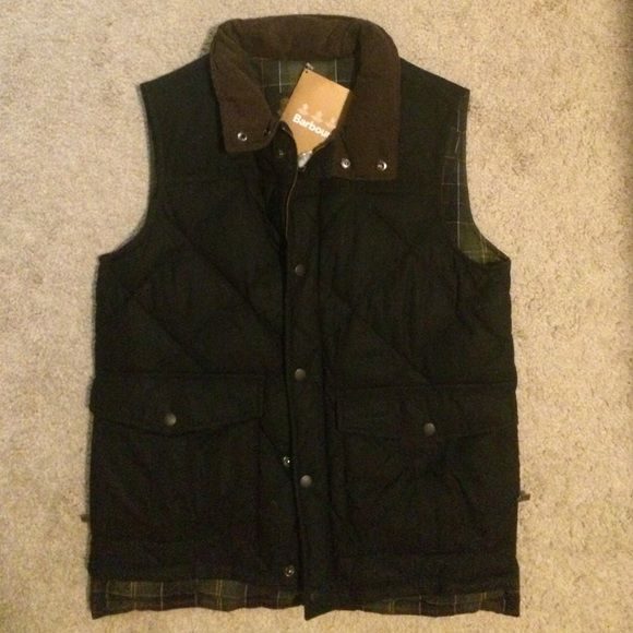 Barbour vest Brand new black  Barbour Wax Feather Gilet vest with brown corduroy collar.   This is a Men's small, equivalent to a Women's Medium. Barbour Jackets & Coats Vests
