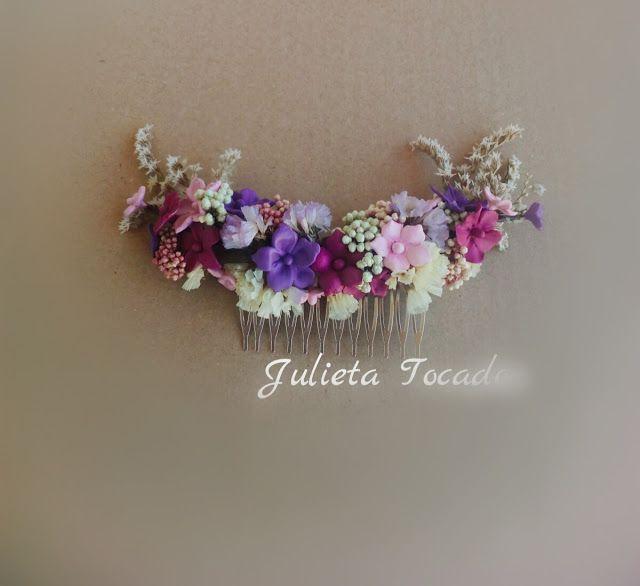 Tiaras y Tocados : Flores preservadas y Porcelana en peina de Novia