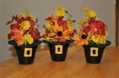Make your flower pots upside-down pilgrim hats!