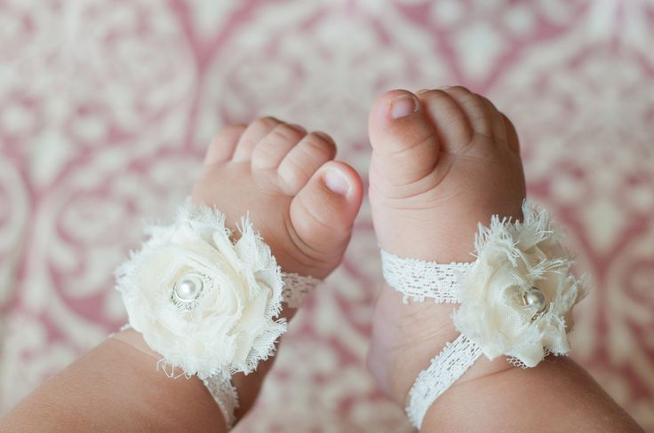 Barefoot Baby Sandals - Elastic Sandals for Babies - Perfect Photo Prop - For Newborns to 12 Months. $12.00, via Etsy.