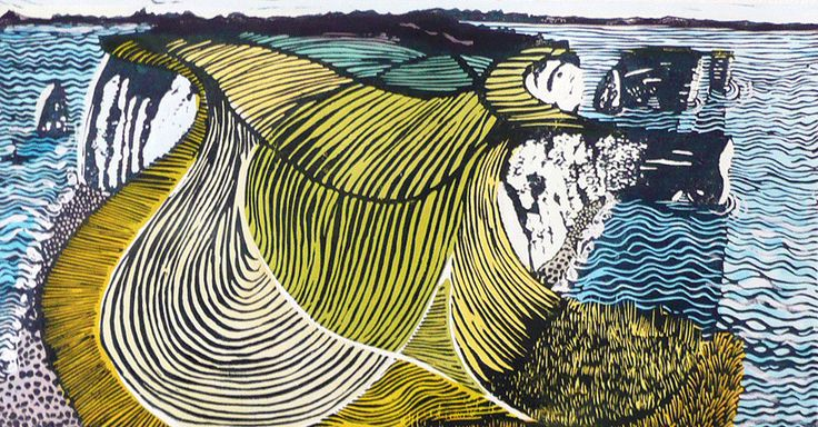 """""""Old Harry and his Mother 10"""" relief print by  Liz Somerville. http://www.lizsomerville.co.uk/  Tags: Linocut, Cut, Print, Linoleum, Lino, Carving, Block, Woodcut, Helen Elstone, Sea, Waves, Shore, Hills, Coast."""