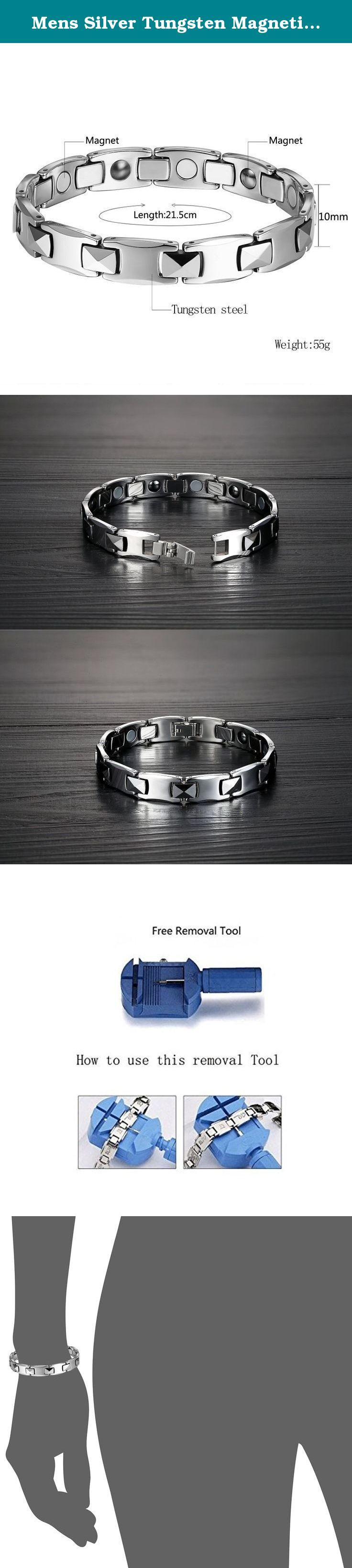 Mens Silver Tungsten Magnetic Link Bracelet Jewelry in Velvet Box with Free Link Removal Tool. Mens Silver Tungsten Magnetic Link Bracelet Jewelry in Velvet Box with Free Link Removal Tool This bracelet will always stay polished and it's perfect for people with active lifestyle. A bracelet can put a sophisticated finishing touch on a business suit or add something sleek to a casual ensemble, but many men avoid wearing bracelets due to worries about scratching and having to polish and…