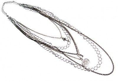 Naszyjnik ze Srebrno-Czarnych Łańcuchów #naszyjnik #necklace #chain #lancuszek