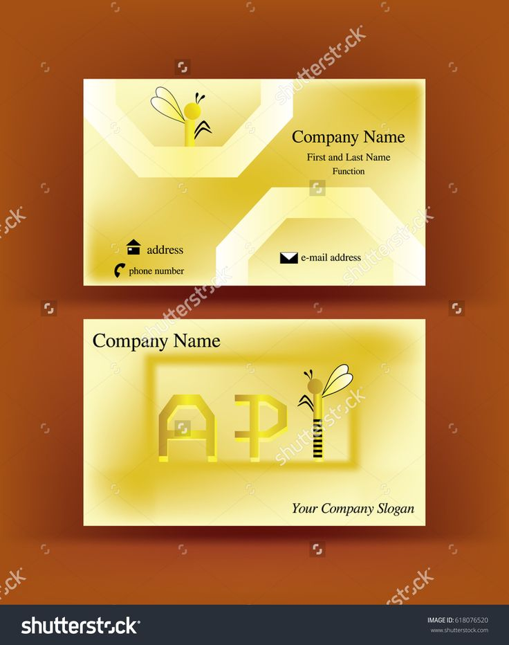 Playful #business #card with #API #letters design, referring to the word #apiculture, having the I letter resembling an abstract #bee, on brown background