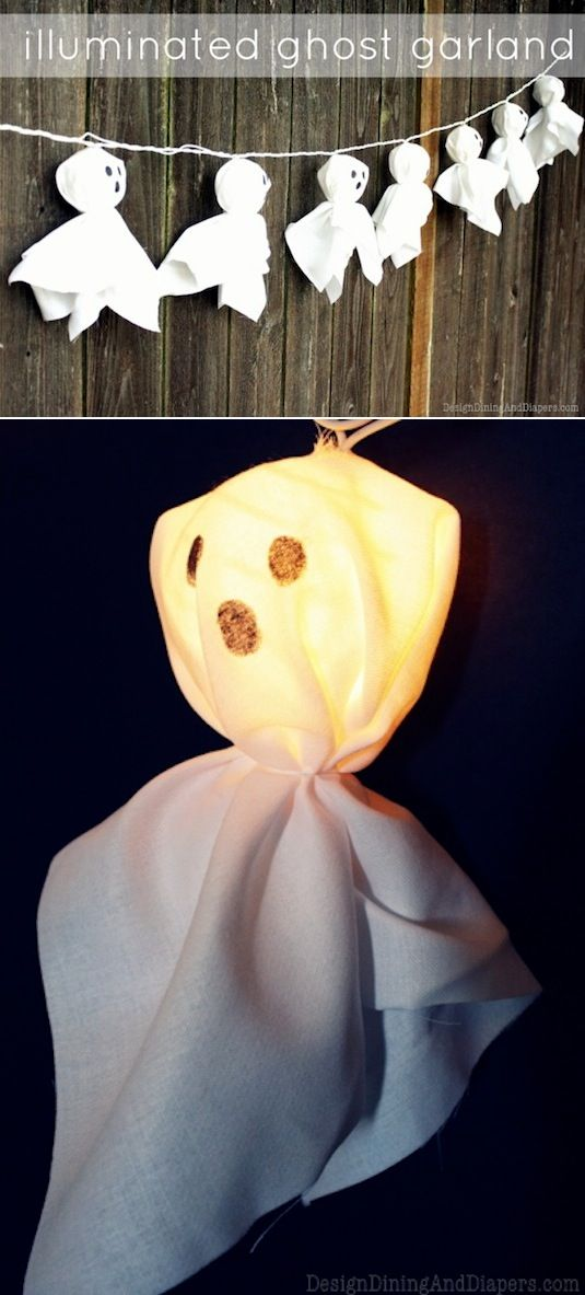 16 Easy But Awesome Homemade Halloween Decorations---Illuminated Ghost Garland