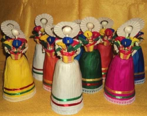 07 Art. Muñeca Mexicana De Hoja De Maiz Artesania Folklorica - $ 48.00
