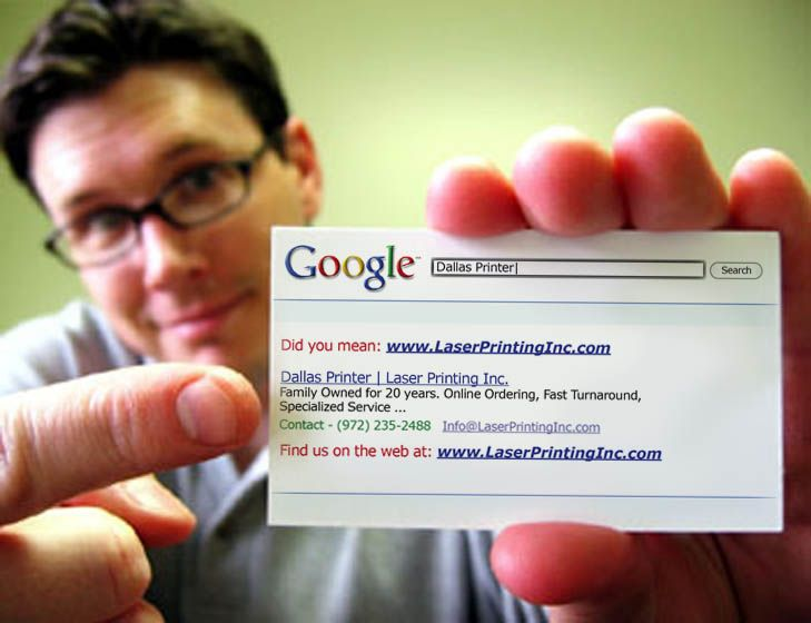 Google search result business card.
