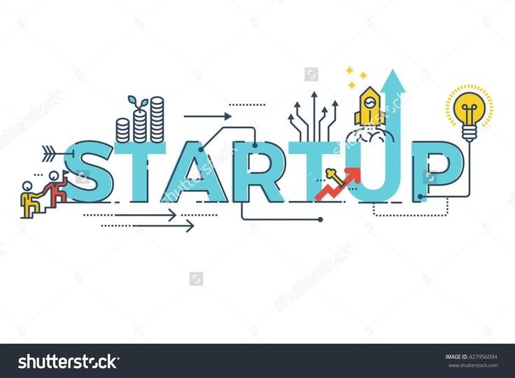 Business Startup word lettering typography design illustration with line icons and ornaments in blue theme
