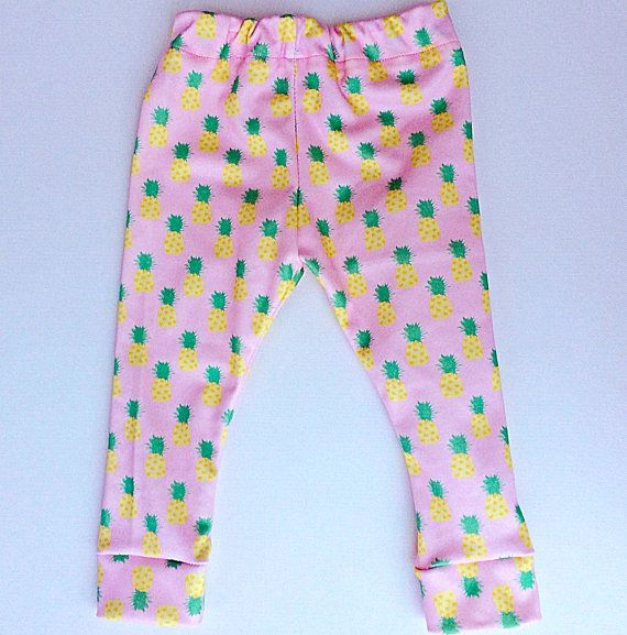 Pineapple baby leggings made in the USA with 100% organic cotton by Palm Row Prints