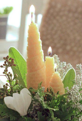 Beeswax candle centerpiece with rosemary : webマガジン「Klastyling 暮らす+スタイリング」様から 2013年12月18日「蜜蝋の手作りキャンドルとフレッシュグリーンのアレンジ」