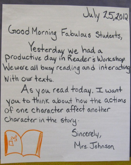 With a simple yet effective question, this fifth grade teacher uses the Morning Message to tie lessons about reading to classroom life in general. (Photo © Hearst Elementary School, Washington, DC.)
