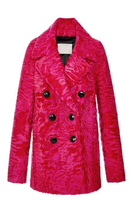 Bright Pink Glossy Astrakhan Coat by Marc Jacobs - Moda Operandi