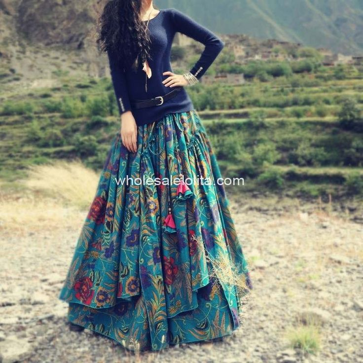 Top Selling New Fashion Long Flowing Multicolor Thick Cotton Print Skirt / skirts and boots in Clothing & Accessories Skirts Women on AliExpress.com | Alibaba Group