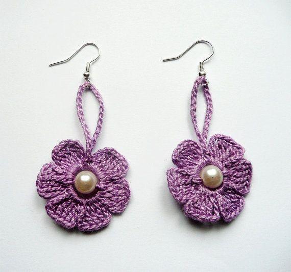 Purple Crochet EarringsCrochet Flower Earrings Crochet by atinqnka, $6.00