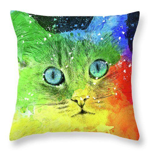Cat Throw Pillow featuring the digital art Abstract Bright Cat by Oksana Ariskina #OksanaAriskina   #HomeDecor #FineArtPrint #BuyArtOnline #PrintsForSale #Cat #Illustration #Paint #Abstract #Watercolor #Popart #Pinup #modern