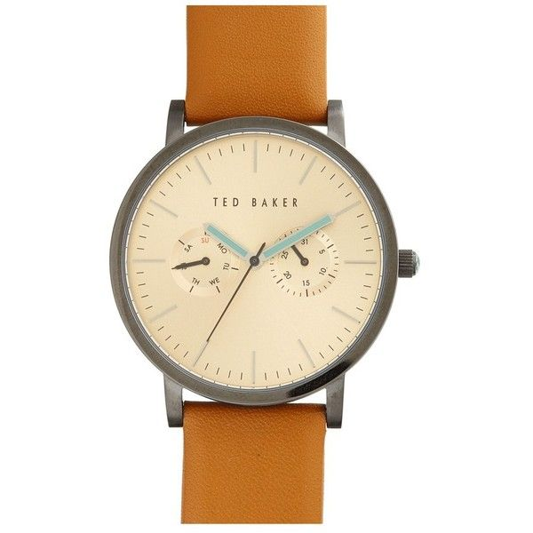 Men's Ted Baker London Multifunction Leather Strap Watch, 40Mm ($165) ❤ liked on Polyvore featuring men's fashion, men's jewelry, men's watches, mens leather strap watches, mens watches jewelry, ted baker mens watches and mens watches
