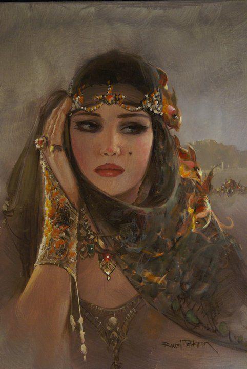 """Vintage Woman"" painted by Remzi Taşkıran, (Turkish painter)."