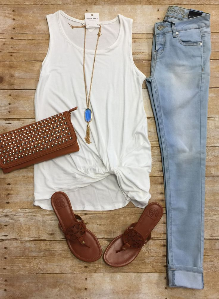 Knotted Tank Top: Ivory from privityboutique Would more so like the jeans to be a dark, straight leg skinny crop to the ankle.