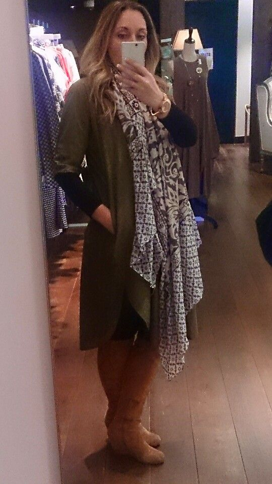 Ottod'ame green shift dress, suede wedge knee boot,oversized scarf,