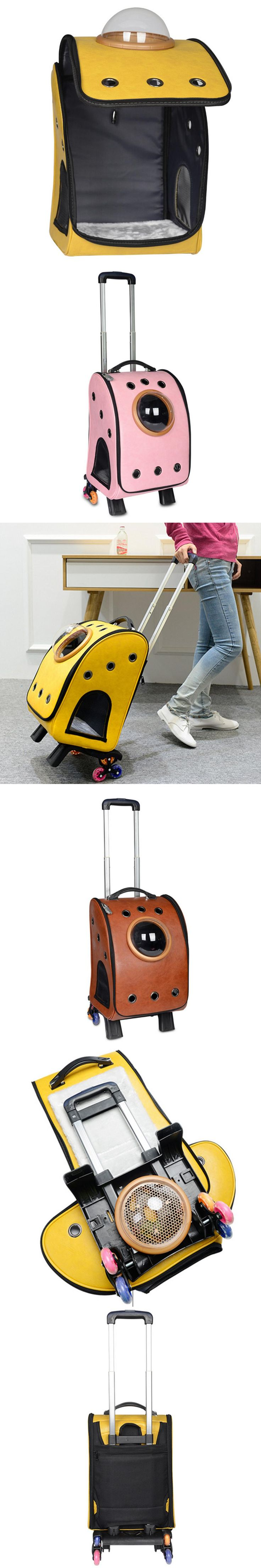 Hoopet 1pcs Astronaut Pet PU Luggage Case puppy Dog Cat Carrier Breathable Pet Travel Bag with Six Wheel