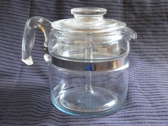 Corning Pyrex 4 cup coffee percolator - Always on top of our stove...