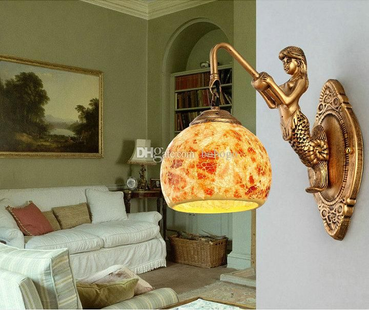 Online Cheap Fashion Europe Led Resin Wall Lamp Creative Mermaid Wall Lamp Mediterranean Wall Light Bedroom Light Bedside Lamp Stairs Light Balcony Lamp By Bobogo | Dhgate.Com