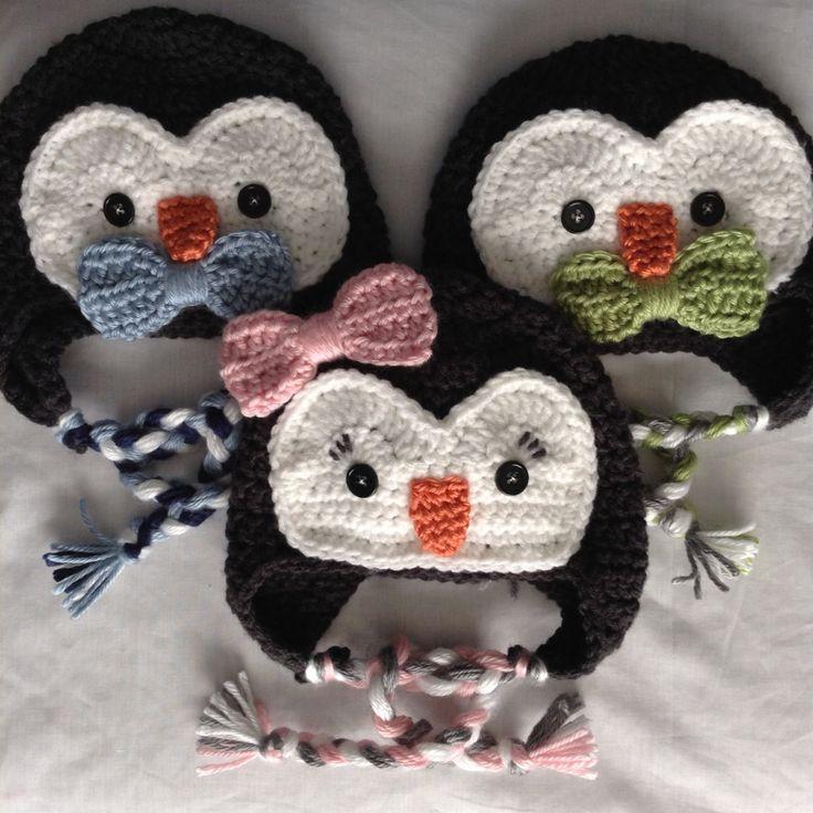 Penguin Hat Gift for Triplets - Triplet Baby Christmas Gift - Boy Girl Triplets - Triplet Boys - Triplet Girls - Triplet Baby Shower Gift by HookYarnAndHooper on Etsy https://www.etsy.com/listing/249041886/penguin-hat-gift-for-triplets-triplet