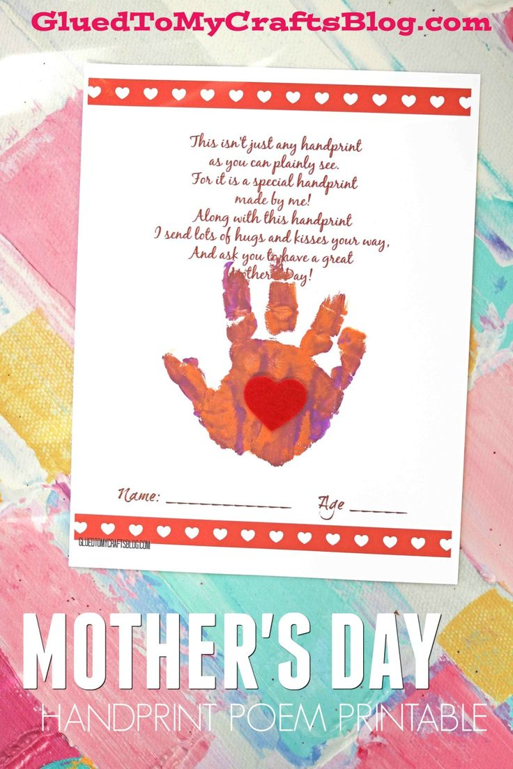 Handprint Mothers Day Poem Printable Mothers day poems