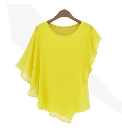 (7.37$)  Know more - http://ain5q.worlditems.win/all/product.php?id=G0430Y-L - New Trendy Women Chiffon Tops Ruffled Batwing Sleeve Asymmetric T Shirt Yellow