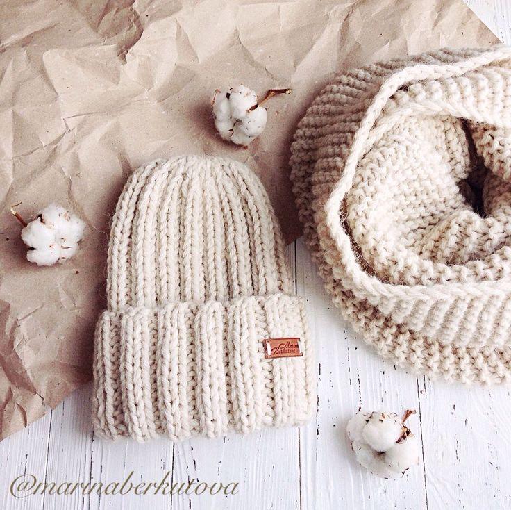 Купить Комплект из альпаки объемная шапочка снуд в два оборота - бежевый…