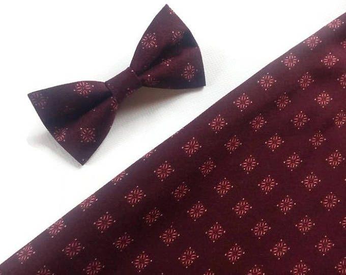maroon bow tie deep burgundy/wedding/skinny/ties/geometric pattern fall wedding men pocket square/B15479-5/groomsmen/bow ties/groom/self tie
