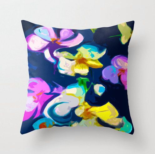 Beautiful Orchid Pillow Cover with lavender, turquoise, and yellow on navy background. Original fabric print, colorful pillow. Unique Pillow...