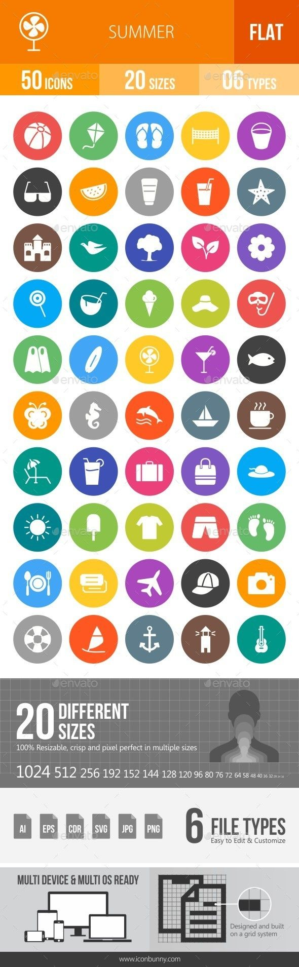 Summer Flat Round Icons