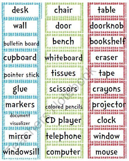 17 best images about esol on pinterest free printables for Room labels