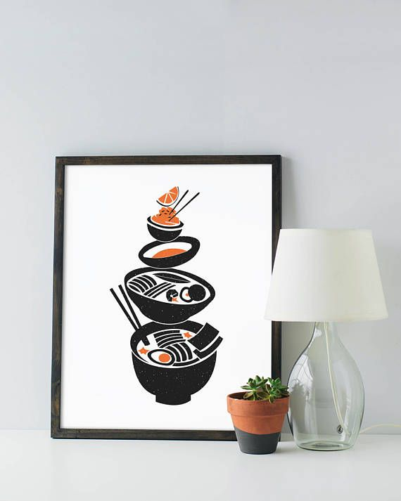 Ramen Noodle Print - Custom Colors - Noodles - Modern mid-century graphic black white minimal foodie soup pun funny poster art kitchen dorm Art & Collectibles Prints  kitchen print  modern kitchen  black and white funny kitchen art  ramen quote ramen poster ramen print  ramen soup  mid century kitchen minimal kitchen funny ramen art  custom color kitchen  noodles print japanese orange papercut look chopsticks noodles student foodie mid century modern graphic design