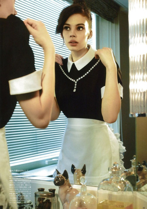 Trying on the lady's jewels (Vogue Japan July 2012)