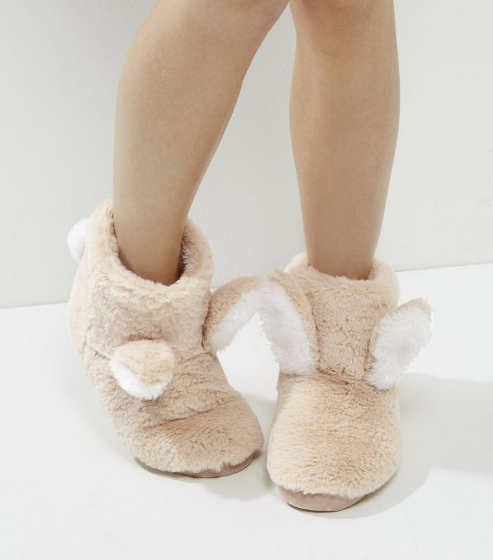 Cream Faux Fur Bunny Ear Slipper Boots | New Look