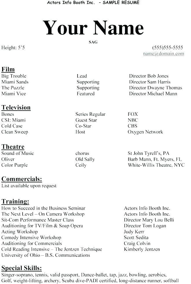 Example Actor Resume Sample Resume For Beginners Impressive In 2020 Acting Resume Resume Template Acting Resume Template