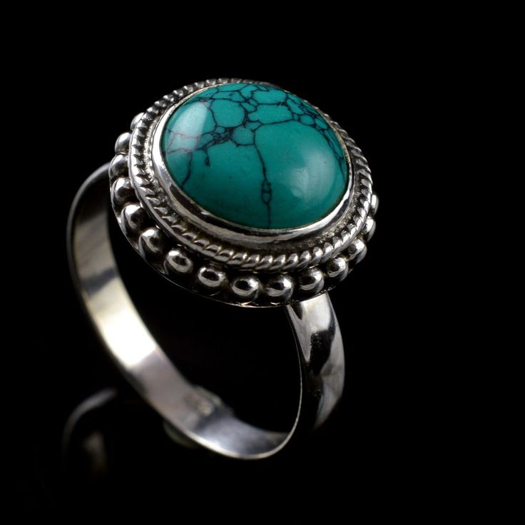 925 Sterling Silver Natural Turquoise Gemstone Handmade Ring Size 8.25 US #Handmade #Cluster #Party
