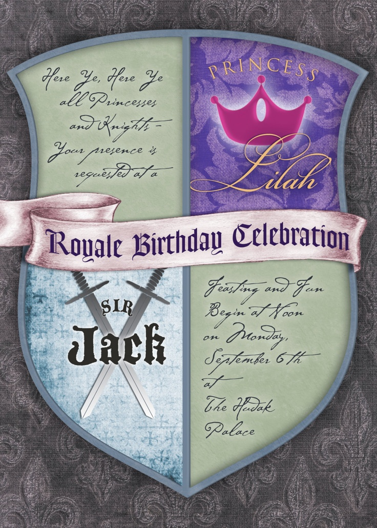My Knight and Princess birthday party invitation for a boy/girl party. $15.00, via Etsy.