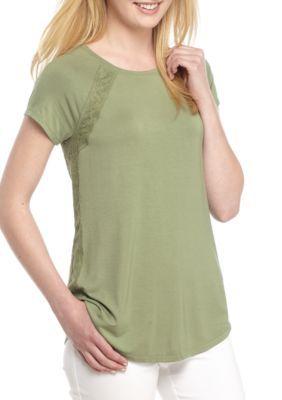 Kaari Blue™ Women's Lace Inset Tee - Giver Green - Xl