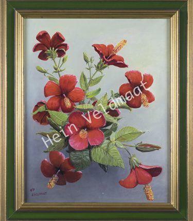 Hibiscus, 1989  Olieverf op linnen, afmeting 40 x 50 cm  Rode hibiscus op een fris blauw-grijs-groene achtergrond. Het doek dateert uit de begintijd van de schilder. Hij heeft het boeket op vakantie op Madeira in grote lijnen opgezet om het vervolgens thuis in Nederland uit te werken. Dankzij het gebruik van slechts twee hoofdkleuren, groen en rood, komen de mooie bloemen prachtig tot hun recht.