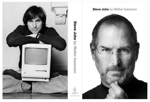 """The cover,"" writes Isaacson in private e-mail, ""is the Albert Watson portrait taken for Fortune in 2009. The back is a Norman Seeff portrait of him in the lotus position holding the original Macintosh, which ran in Rolling Stone in January 1984. The title font is Helvetica. It will look as you see it, with no words on the back cover."" (Walter Isaacson: Steve Jobs"