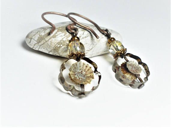 Rustic Floral Earrings Antiqued Czech Crystal Picasso Pansy