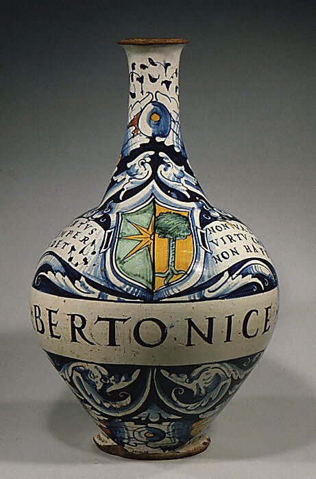 Italian pharmacy bottle (one of a pair) c1520 (Metropolitan Museum of Art)